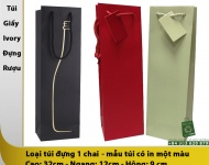 Loại túi giấy đựng rượu 1 chai sử dụng giấy Ivory định lượng 250 gsm, đóng khoen dây PP