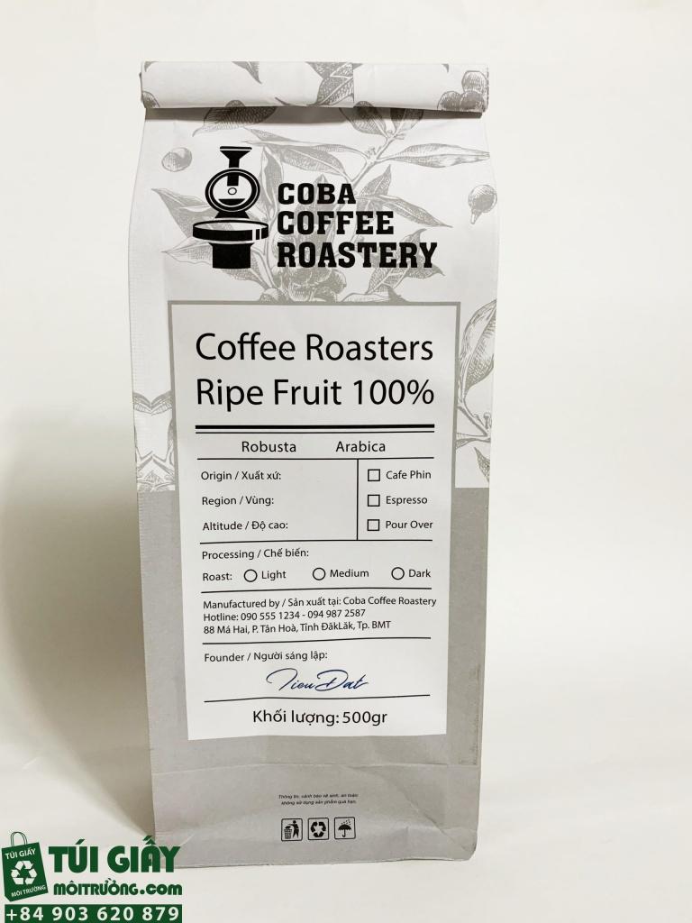 Túi cà phê 8 cạnh thương hiệu COBA coffee sử dụng kraft trắng in 2 màu đen xanh