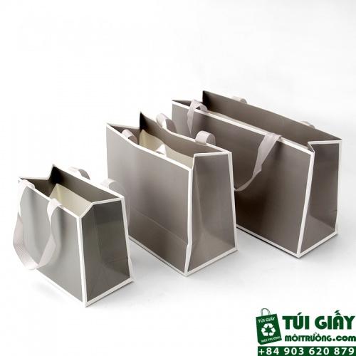 Túi giấy cao cấp dùng dây rubang dấu quai bên trong - màng chống trầy, thấm nước