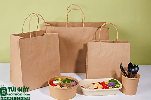 Bộ sản phẩm túi giấy sử dụng cho nhà hàng quán ăn, đựng hộp thức ăn nhanh