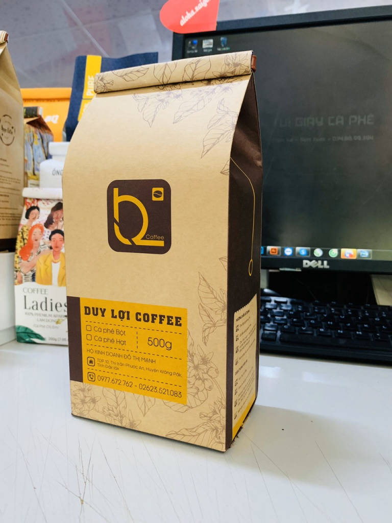 Túi Giấy Kraft Nâu ghép màng Duy Lợi Coffee